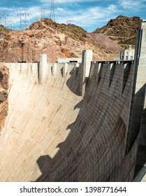 HOOVER DAM, USA - APRIL 15, 2019: View of hoover dam las vegas nevada, lake mead running into the colorado river through the hydroelectric power plant