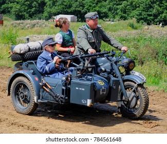 Hop Farm, Kent / UK - 07/27/17: Motorcycle and sidecar at 2017 War and Peace Revival.