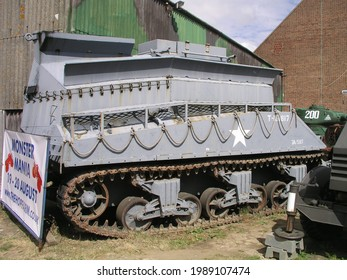 Hop farm, UK - July.23.2006: US M4A2 Sherman BARV (Beach Armoured Recovery Vehicle) Sea Lion at the war and peace show