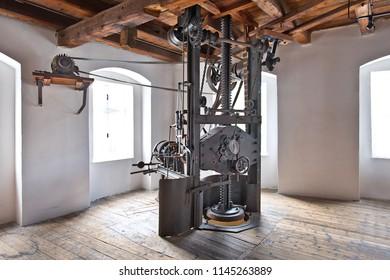Hop press in Hop museum in Zatec town. Czech Republic.