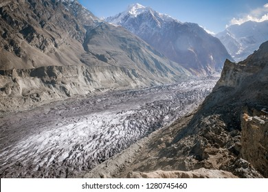 Hopar glacier or Hopper glacier is covered with rubble, boulders and mud, Nagar Valley. Gilgit Baltistan, Pakistan.