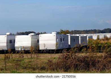 HOPE, ARKANSAS - NOVEMBER 3, 2008: FEMA trailers parked in field on outskirts of Hope, Arkansas.