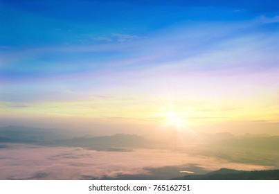 Hope concept: Celestial mountain landscape and sky sunrise background. Nok Ann cliff, Phu Kradueng National Park, Loei, Thailand, Asia