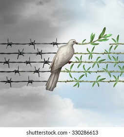 Hope concept as a dove on barbed wire to olive branches as a symbol for good will of man and a respect for humanity and the globe as a new year or holiday greeting with a wish of a safer world.