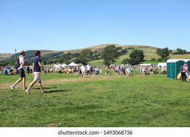 Hope, Derbyshire, UK. August 26, 2019.  Spectators enjoying the country bank holiday show in the countryside of the Peak district at Hope in Derbyshire, UK.