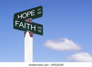 Hope Faith Emotion Idea Signs Crossroads Street Avenue Sign