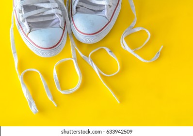 hope, message on shoelace with sneakers.
