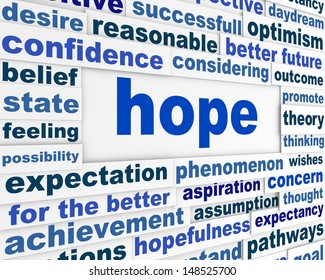 Hope word clouds poster. Optimism creative conceptual background