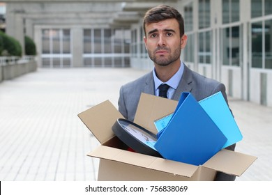 Hopeless businessman getting fired isolated