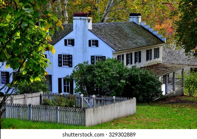 Hopewell Furnace, Pennsylvania - October 15, 2015:  The Ironmaster's mansion, built c. 1770-1800, at Hopewell Furnace National Historic Site