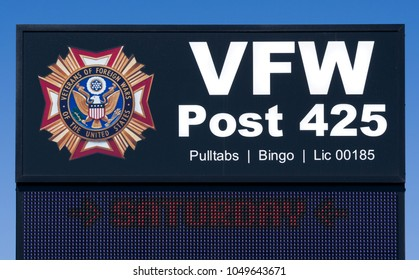 HOPKINS, MN/USA - MARCH 17, 2018: VFW Post 425 exterior sign and logo. The Veterans of Foreign Wars is a U.S. war veterans organization.