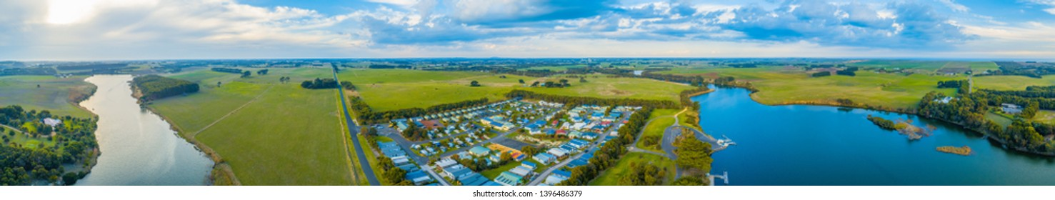 Hopkins River and grasslands - scenic wide aerial panoramic landscape. Warrnambool, Australia
