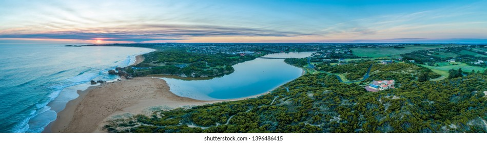 Hopkins River mouth and ocean coastline at sunset. Warrnambool, Victoria, Australia