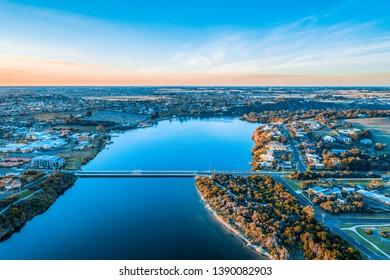 Hopkins River in Warrnambool town, Australia - aerial view