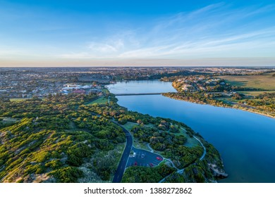Hopkins river and Warrnambool town in Victoria, Australia