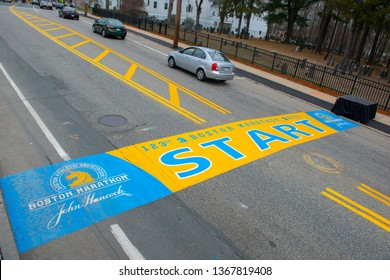 HOPKINTON, MA, USA - APR 13, 2019: Boston Marathon Start Line on Main Street in town of Hopkinton, Massachusetts, USA.