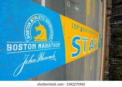 HOPKINTON, MA, USA - APR 23, 2018: Boston Marathon Start Line on Main Street in town of Hopkinton, Massachusetts, USA.