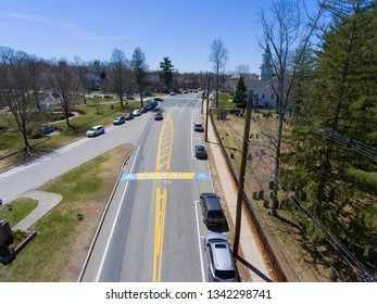 HOPKINTON, MA, USA - APR 23, 2018: Boston Marathon Start Line aerial view on Main Street in town of Hopkinton, Massachusetts, USA.