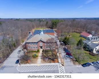 HOPKINTON, MA, USA - APR 23, 2018: Historic Center School in town center in Hopkinton, Massachusetts, USA.