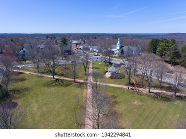 Hopkinton town center aerial view including Town Common and Korean Presbyterian Church in early spring in Hopkinton, Massachusetts, USA.