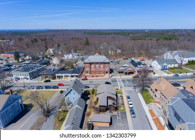 Hopkinton town center aerial view of Town Hall in early spring in Hopkinton, Massachusetts, USA.