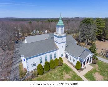 Hopkinton town center aerial view of Korean Presbyterian Church in early spring in Hopkinton, Massachusetts, USA.