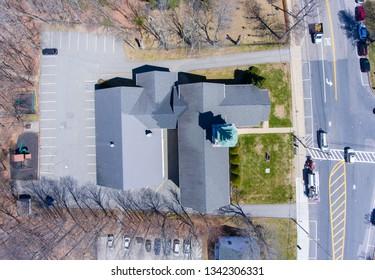 Hopkinton town center top view of Korean Presbyterian Church in early spring in Hopkinton, Massachusetts, USA.