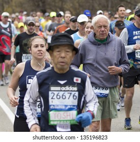 HOPKINTON, USA - APRIL 15: The 2013 Boston Marathon had athletes of all ages and races at the starting line in Hopkinton, Massachusetts, USA on April 15, 2013.