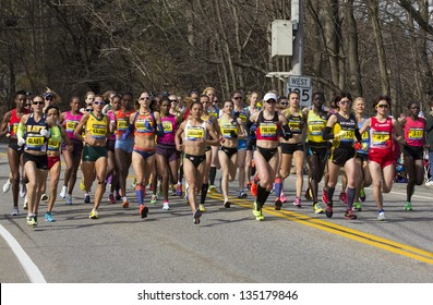 HOPKINTON, USA - APRIL 15: The Women Division of the Boston Marathon 2013 heading from Hopkinton to Boston with 50 athletes had Lelisa Desisa from Ethiopia as winner on April 15, 2013.