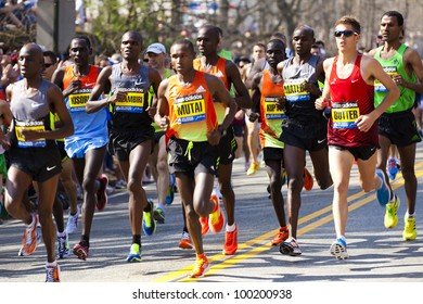 HOPKINTON, USA - APRIL 16: The 2012 Boston Marathon starting line in Hopkinton, Massachusetts with the Kenyan athletes leading the race and heading fast to Boston downtown on April 16, 2012.