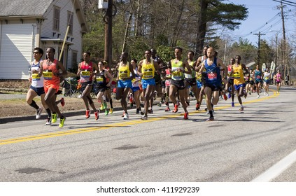 HOPKINTON, USA - APRIL 18: Elite female runners competing at the Boston Marathon 2016 a few minutes after the start of the race in Hopkinton, MA, USA on April 20, 2016.