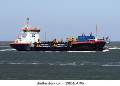 The hopper dredger Ecodelta is working on April 10, 2019 in front of the port of Rotterdam on the Maasvlakte.