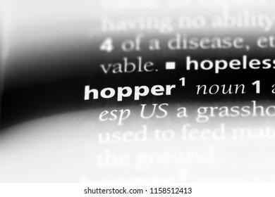hopper word in a dictionary. hopper concept.