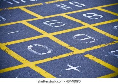 Hopscotch board on school playground