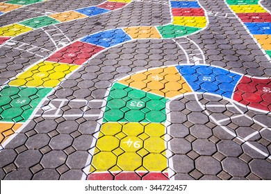 Hopscotch game on pavement in school