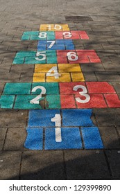 Hopscotch game on schoolyard