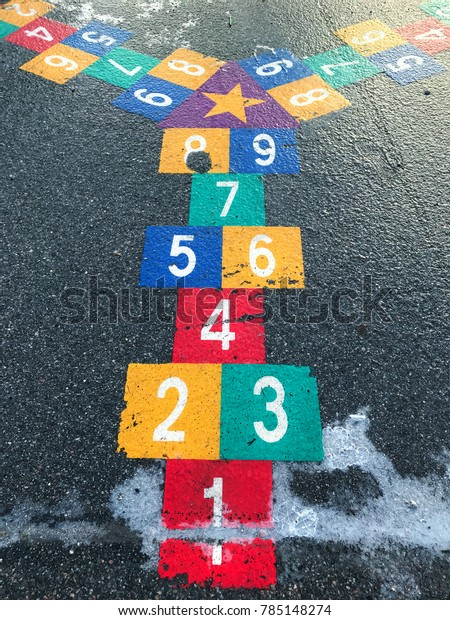 Hopscotch Game Painted On Asphalt Ice Stock Photo (Edit Now) 785148274