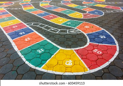 Hopscotch game painted on the floor as seen from above