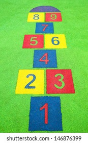 hopscotch painted on the floor