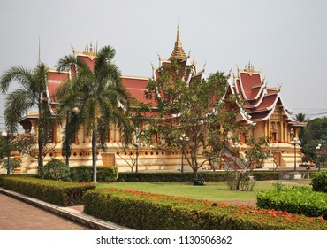 Hor Thammasapha (Buddhist Convention Hall) of Wat That Luang Nuea (Nua) temple in Vientiane. Laos