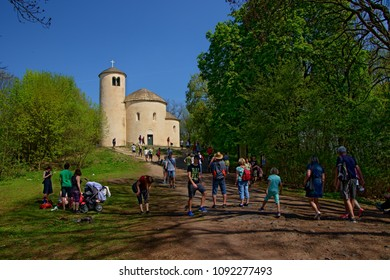 HORA RIP, CZECH REPUBLIC - April 22, 2018: Romanesque rotunda of St. George on The Hill Rip, Central Bohemia, Czech Republic