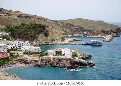 HORA SFAKION, GREECE - CIRCA MAY 2018 Village on the south coast of Crete, Greece