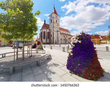 Horazdovice / Czech Republic - June 10, 2019: On Square of Peace (Mirove namesti) we find a fountain and church of St. Peter and Paul, built in 1260-1273.