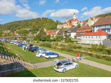 HORB, GERMANY - SEPTEMBER 8, 2018: Elektroauto Treffen in Horb am Neckar