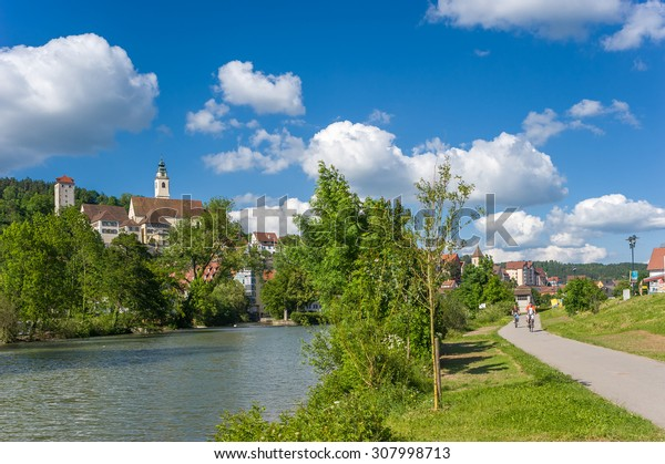 HORB AM NECKAR, GERMANY - MAY 30, 2009: View on the the river Neckar to the historical Old Town of Horb on the Neckar with the collegiate church and the villainous tower. Black Forest, Germany, Europe