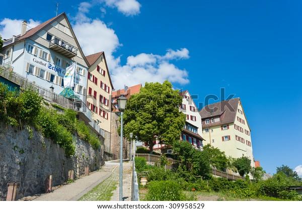 HORB AM NECKAR, GERMANY - MAY 30, 2009: Historical houses on the Marktsteige in Horb on the Neckar. Black Forest, Baden-Wurttemberg, Germany, Europe