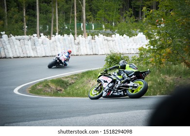 Horice, Czech Republic - 05.19.2019: sport motorcycle low entry corner turn