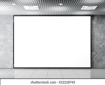 Horisontal blank billboard on a gray stone wall. 3d rendering