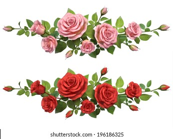 Horisontal border with roses branches  isolated in white.