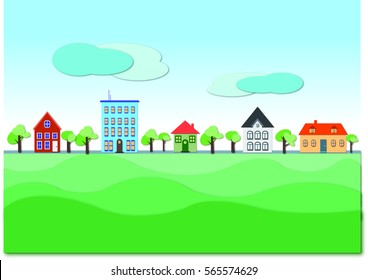 Horizon of houses and trees with green front and clear sky